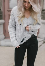 Dex - Grey V-Neck Distressed Knit Sweater