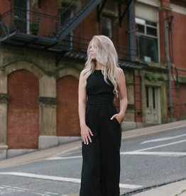 Dex - Black Jumpsuit w/  Lace-up Back