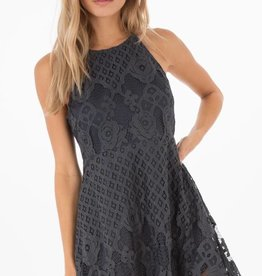 Black Swan Black Swan - Navy Lace Fit & Flare Dress 'Charlotte'