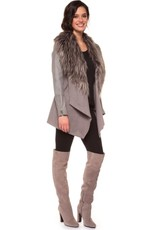 Black Tape - Grey Jacket w/ Dramatic Fur Collar