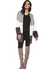 Black Tape - Grey/White/Brown Cardigan w/ Fur Cuffs