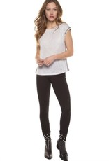 Dex - Grey Scoop Neck Top w/ Metallic Side Stripes