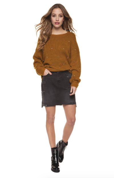 Dex - Mustard Yellow Knit Sweater w/ Pearl Details