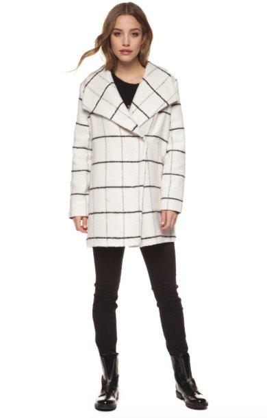 DEX White & Black Plaid Jacket w/ Wide Collar