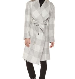 DEX DEX - Ivory & Grey Plaid Coat W/ Waist Tie