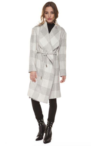 DEX DEX - Ivory & Grey Plaid Coat W/ Waist Tie