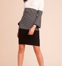 Jack - Black & White Striped Sweater Dress