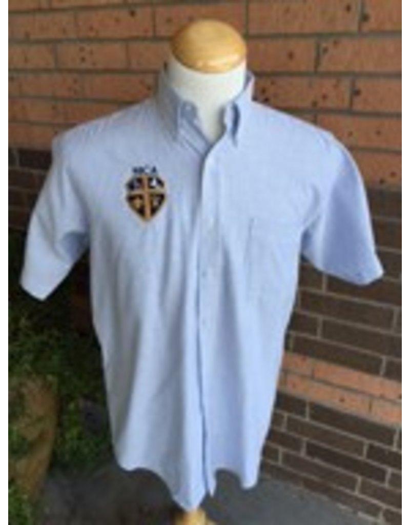 Elderwear Men's Short-Sleeve Oxford Blue Pinstripe