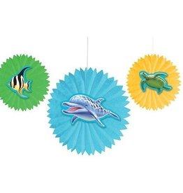 Creative Converting DÉCORATIONS ÉVENTAILS SUSPENDUS - SOUS L'OCEAN (3)