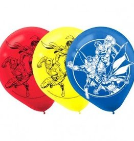 "Amscan SAC DE 6 BALLONS 12"" EN LATEX - JUSTICE LEAGUE"