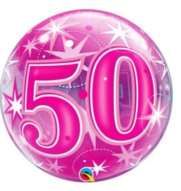 Qualatex BALLON BUBBLES 50 ANS ROSE