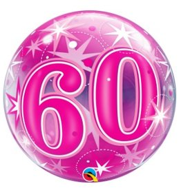 Qualatex BALLON BUBBLES 60 ANS ROSE
