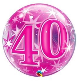 Qualatex BALLON BUBBLES 40 ANS ROSE