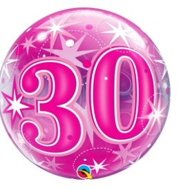 Qualatex BALLON BUBBLES 30 ANS ROSE