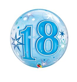 Qualatex BALLON BUBBLES 18 ANS BLEU