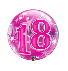 Qualatex BALLON BUBBLES 18ANS ROSE
