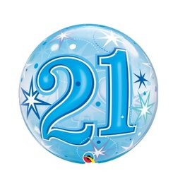 Qualatex BALLON BUBBLES 21 ANS BLEU