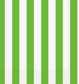 Unique SERVIETTES DE TABLE (16) - LIGNÉS VERT LIME & BLANC