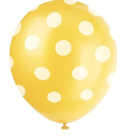 "Unique SAC DE 6 BALLONS EN LATEX 12"" - POIS JAUNE"