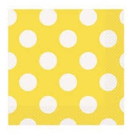 Unique SERVIETTES DE TABLE (16) - POIS JAUNE