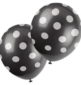 "Unique SAC DE 6 BALLONS EN LATEX 12"" - POIS NOIR"