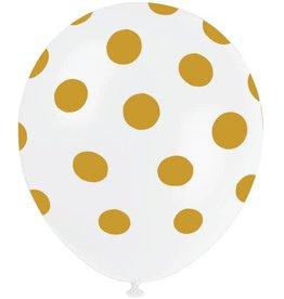 "Unique SAC DE 6 BALLONS EN LATEX 12"" - POIS OR"