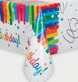 Unique NAPPE EN PLASTIQUE 54X84 - HAPPY BIRTHDAY ARC-EN-CIEL