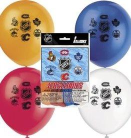 """Unique SAC DE 8 BALLONS LATEX 12"""" - NHL"""