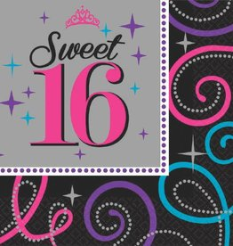Amscan SERVIETTES DE TABLE (16)  - SWEET 16 CELEBRATION