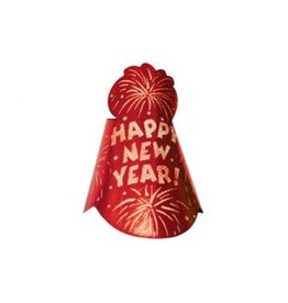 Amscan CHAPEAU CONIQUE ROUGE HAPPY NEW YEAR