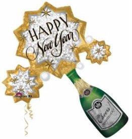 Anagram BALLON MYLAR SUPERSHAPE CHAMPAGNE HAPPY NEW YEAR