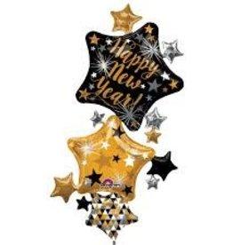 Anagram BALLON MYLAR SUPERSHAPE 3 ÉTOILES - HAPPY NEW YEAR