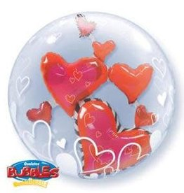 Qualatex BALLON BUBBLES 24'' - COEURS