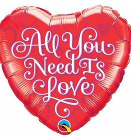 Qualatex BALLON MYLAR 18'' COEUR - ALL YOU NEED IS LOVE