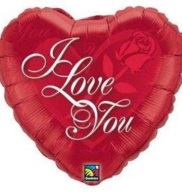 Qualatex BALLON MYLAR 18'' COEUR - I LOVE YOU