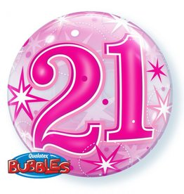 Qualatex BALLON BUBBLES 22PO 21 ANS ROSE