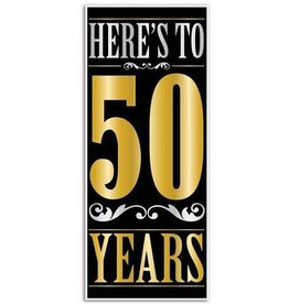 Beistle Co. AFFICHE DE PORTE (30''X6')  - HERE'S TO 50 YEARS