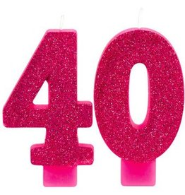 Amscan CHANDELLES D'ANNIVERSAIRE ROSE SCINTILLANT - 40 ANS