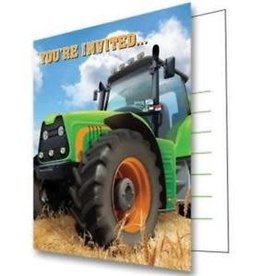 Creative Converting INVITATIONS (8) - TRACTEUR VERT