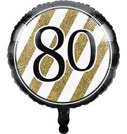 Creative Converting BALLON MYLAR 18PO - NOIR & OR 80ANS
