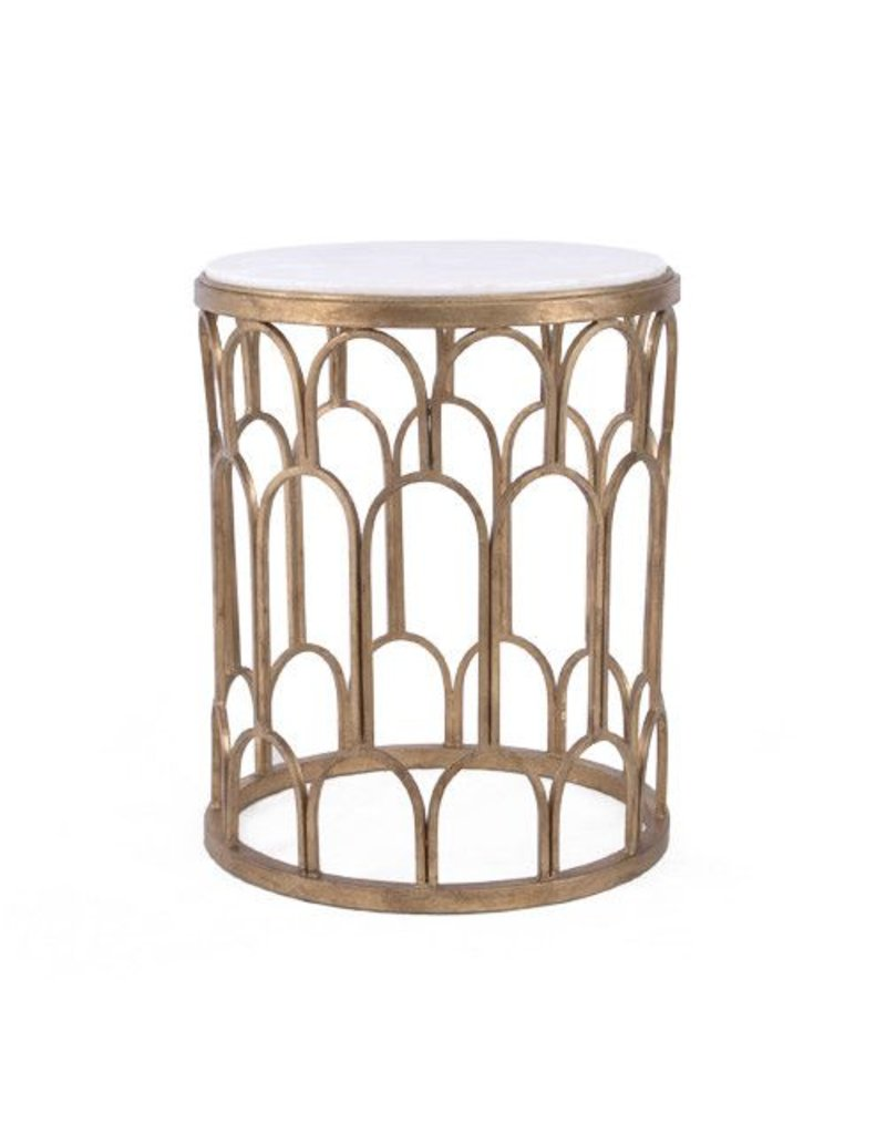 Dunand Side Table Marble Top Gold 20W 33.5H