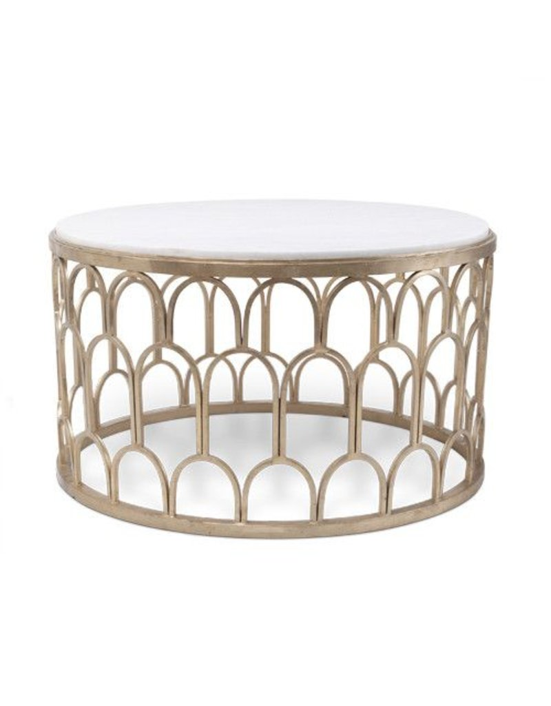 Dunand Coffee Table 20H33.5W Marble Top Silver