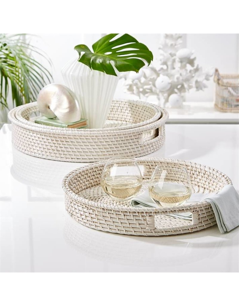 TOZAI WHITE RATTAN TRAY - MEDIUM