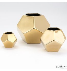 Faceted Vase-Gold-Med