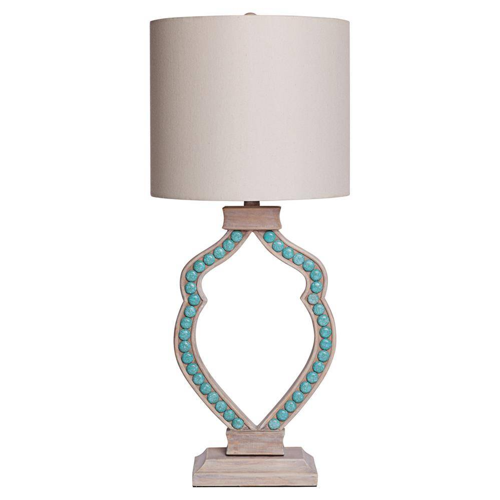 dl turquoise p table bronze lamp