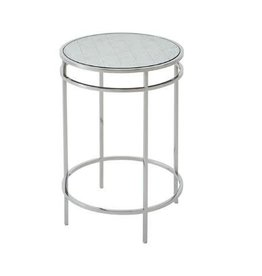 BARTON STAINLESS STEEL SIDE TABLE 23H 16.25DIA.