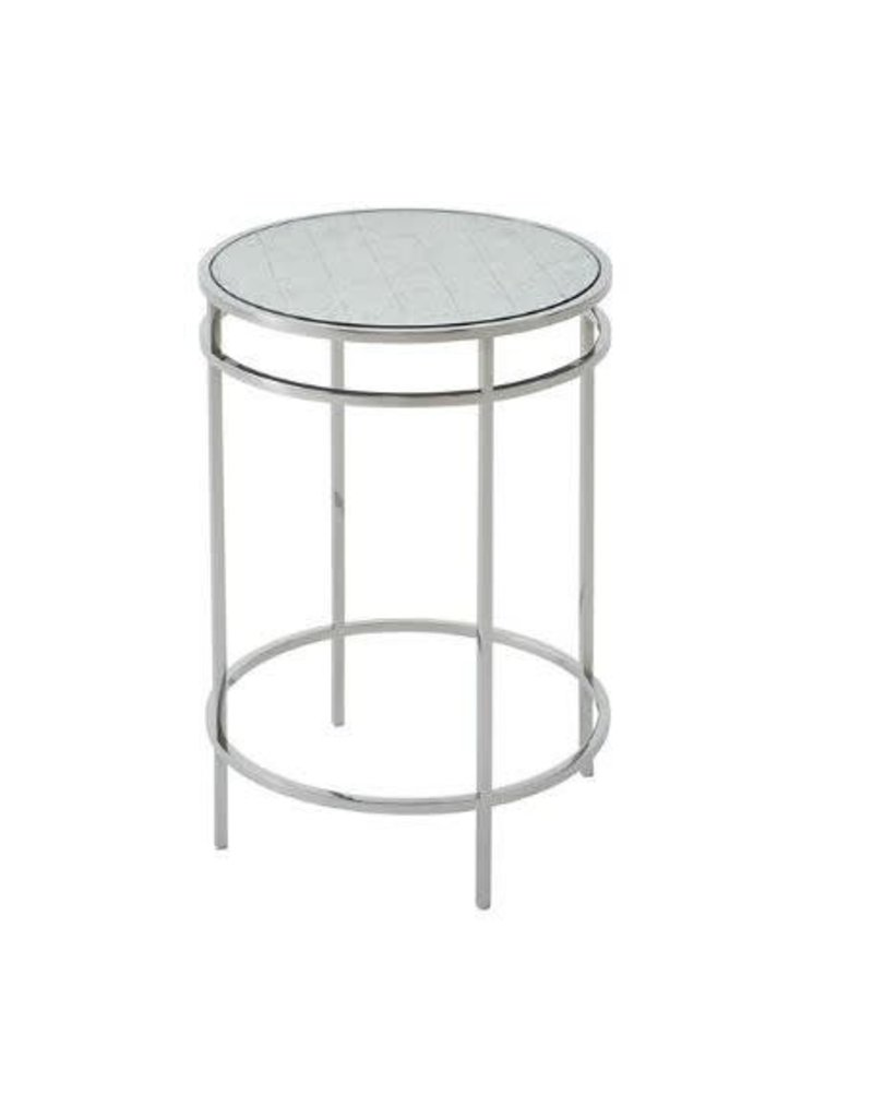 Barton Stainless Steel Side Table 23H 16.25 DIA.