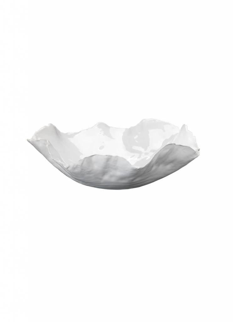 Lg Peony Bowl- White 13w 4h