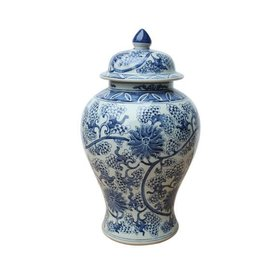 Blue & White Peacock Lotus Temple Jar