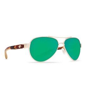 Costa Costa Loreto Sunglasses Green Mirror 580P Rose Gold Frame w/Tortoise